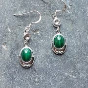Celtic Diamond Malachite Earrings