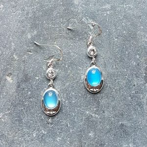 Celtic Diamond Blue Onyx Agate Earrings
