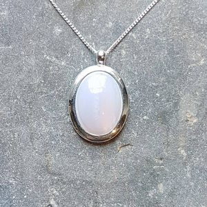 Blue Lace Agate Silver Pendant-Medium