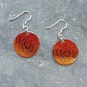 Tribal Belt Earrings-Orange & Red