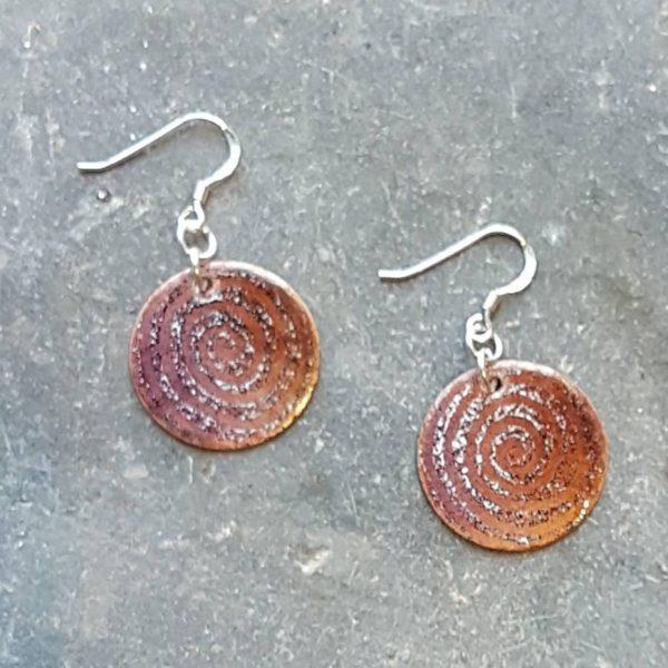 Celtic Spiral Earrings-Orange & Purple