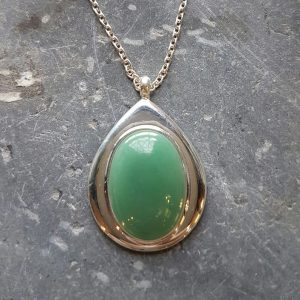 Silver Celtic Adventurine Green Pendant