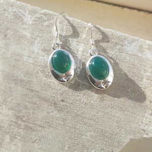 Celtic Green Onyx Agate Earrings