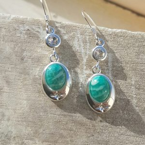 Celtic Diamond Russian Amazonite Earrings