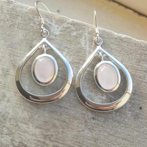 Celtic Loop Rose Quartz Earrings