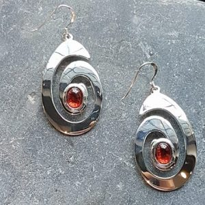 Celtic Spiral Garnet Earrings
